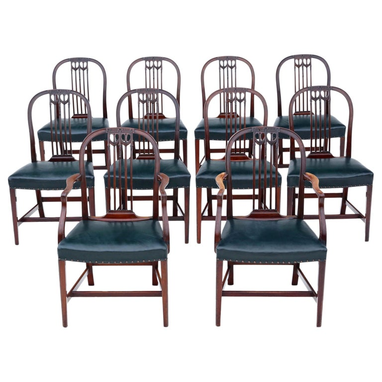 Antique Set of 10 '8+2' Mahogany Dining Chairs, 19th Century For Sale