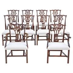 Antique Set of 10 '8+2' Mahogany Georgian Revival Dining Chairs Ribbon Back