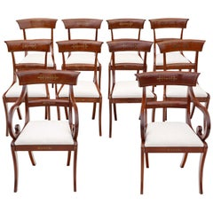 Antique Set of 10 '8+2' Regency Mahogany 19th Century Dining Chairs