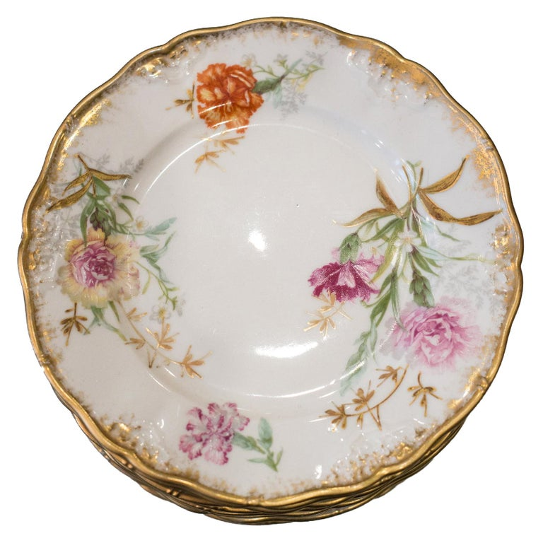 Antique Set of 10 France Dépose for J. E. Caldwell Floral and Gilt Side Plates For Sale