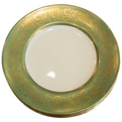 Antique Set of 10 Green and Gold Cauldon Dinner Plates for Reizenstein and Sons
