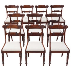 Antique Set of 10 Regency Carved Mahogany Dining Chairs