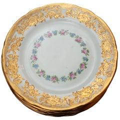Antique Set of 11 Floral and Gilded Dessert Plates for Ovington's
