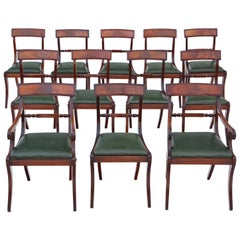 Antique Set of 12 '10+2' Regency Mahogany Dining Chairs