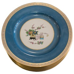 Antique Set of 12 Blue Lenox Dishes for Kinney and Levan