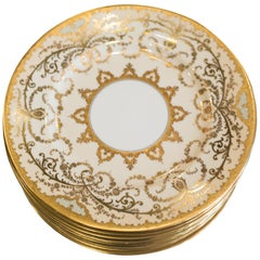 Antique Set of 12 Creme and Gold Coalport Dinner Plates