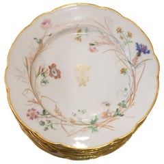 Antique Set of 12 H. Beziat Paris Dishes with Flowers and Scalloped Edge