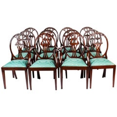 Antique Set of 12 Hepplewhite Mahogany Dining Chairs, 19th Century