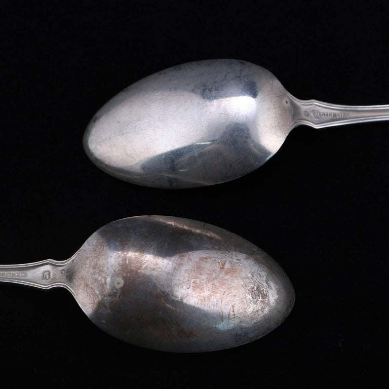 Antique Set of 12 Sterling Silver Teaspoons, 9.77 Toz, circa 1900 For Sale 9