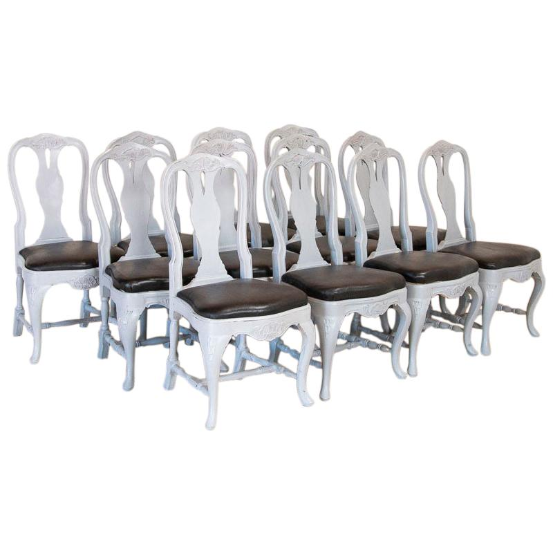 Antique Set of 12 Swedish Gustavian Gray Painted Dining Chairs