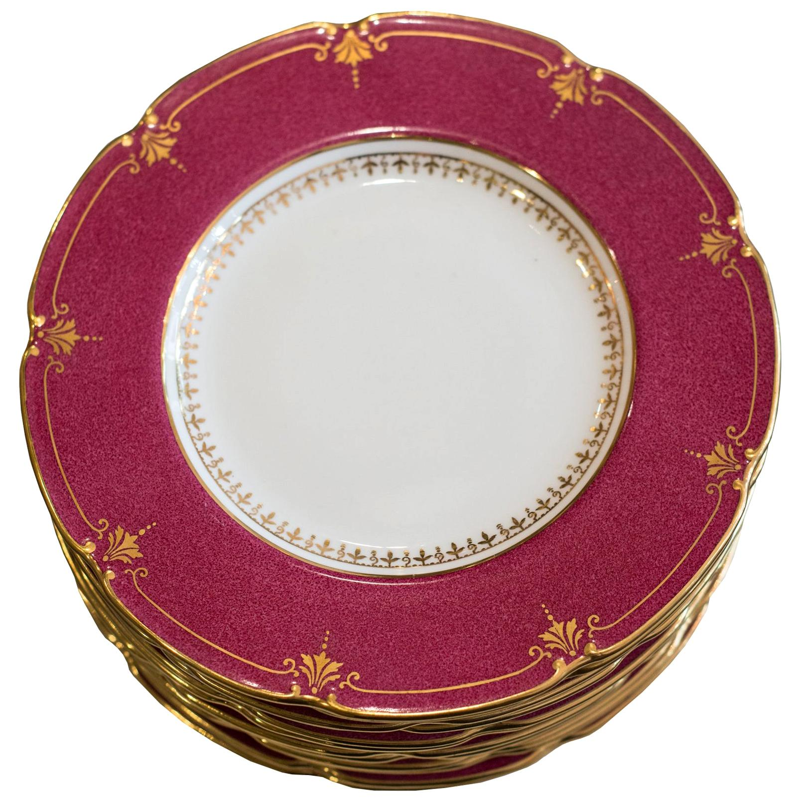 Antique Set of 12 Wedgwood Cranberry Side Plates
