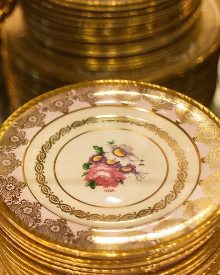 English Antique Set of 15 Paragon Pink & Gold Gilded Bone China Dessert Plates For Sale