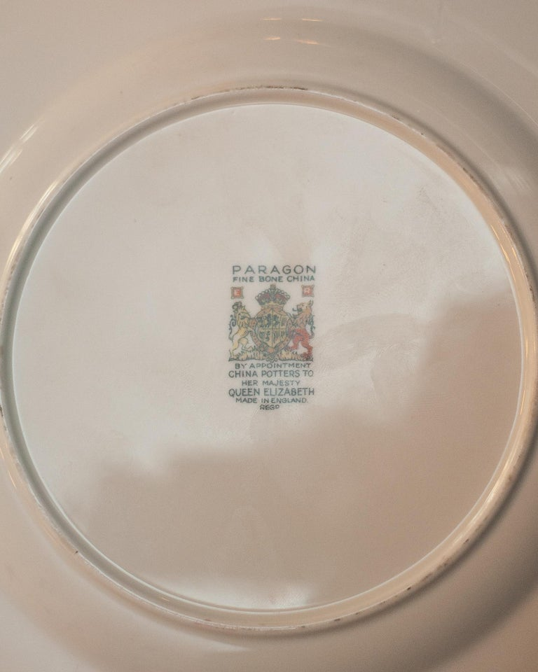 Hand-Painted Antique Set of 15 Paragon Pink & Gold Gilded Bone China Dessert Plates For Sale