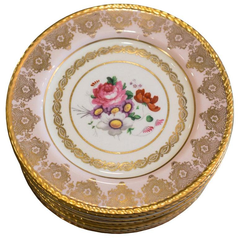 Antique Set of 15 Paragon Pink & Gold Gilded Bone China Dessert Plates For Sale