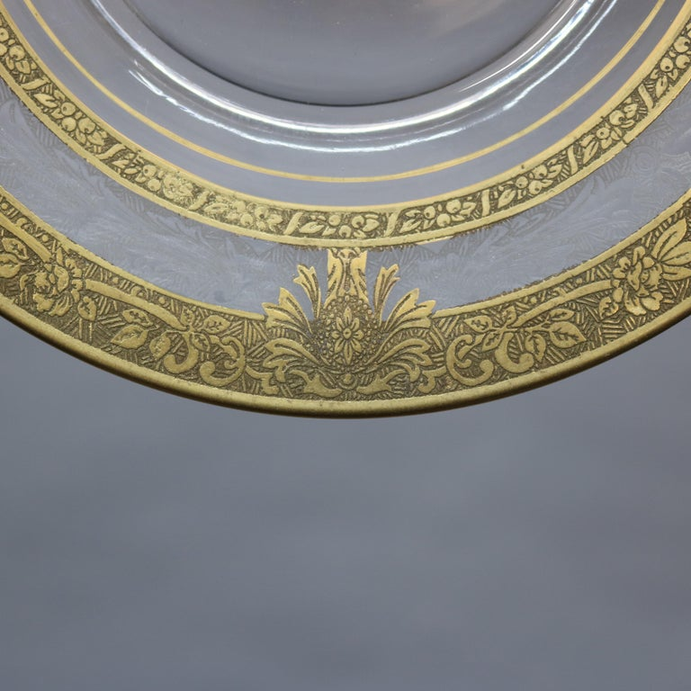 American Set of 16 Etched & Gilt Decorated Rimmed Glass Dessert Plates, 20th Century For Sale