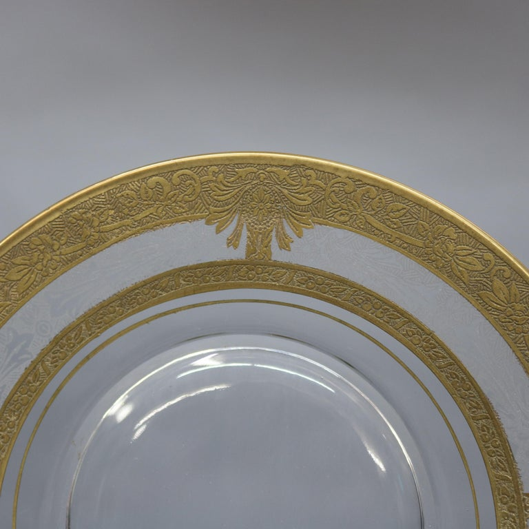 Set of 16 Etched & Gilt Decorated Rimmed Glass Dessert Plates, 20th Century In Good Condition For Sale In Big Flats, NY