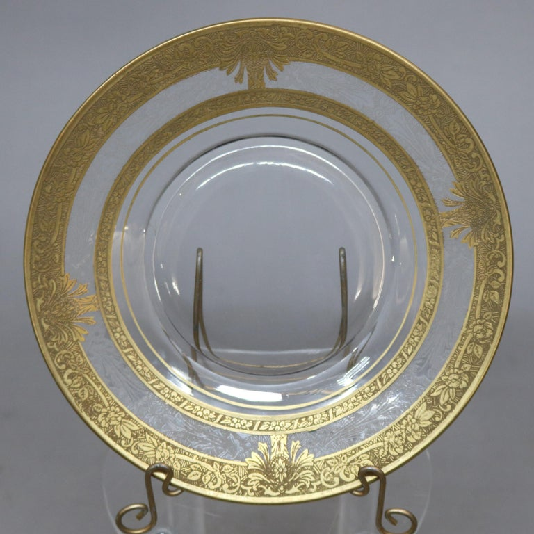 Set of 16 Etched & Gilt Decorated Rimmed Glass Dessert Plates, 20th Century For Sale 1