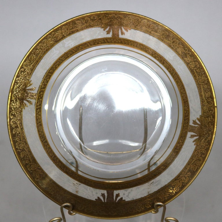 Set of 16 Etched & Gilt Decorated Rimmed Glass Dessert Plates, 20th Century For Sale 2