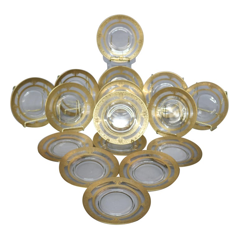 Set of 16 Etched & Gilt Decorated Rimmed Glass Dessert Plates, 20th Century For Sale