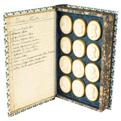 Antique Set of 24 Book Framed Plaster Grand Tour Intaglios Emperors Artists