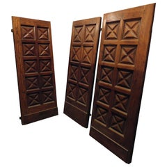 Antique Set of 3 Identical Doors, Carved Wood Larch, 19th Century, Italy