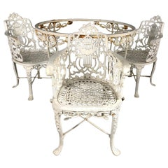 Antique Set of 3 Neoclassical Cast Iron Garden Armchairs and Table