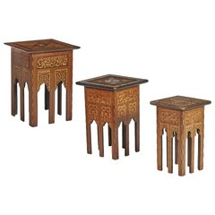 Antique Set of 3 Syrian Mother of Pearl Inlaid Occasional Tables 19th Century