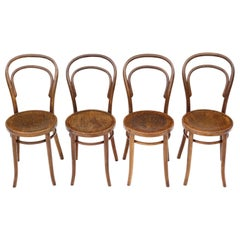 Antique Set of 4 Bentwood Kitchen Dining Chairs, Early 20th Century