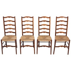 Antique Set of 4 circa 1910-1920 Beech and Rush Kitchen Dining Chairs