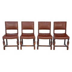 Antique Set of 4 circa 1920 Oak and Leather Dining Chairs Jacobean Revival