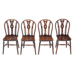 Antique Set of 4 Elm and Beech Kitchen Dining Chairs, C1900