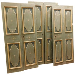 Antique Set of 4 Green Hand-Laquered Wooden Doors, 19th Century, Italy
