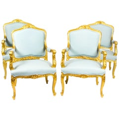 Antique Set of 4 Louis Revival French Giltwood Armchairs, 19th Century