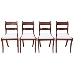 Antique Set of 4 Regency circa 1825 Mahogany Dining Chairs, 19th Century