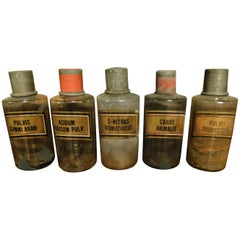 Antique Set of 5 Glass Pharmacy Jars, Bottle, Spices, Written Latin, 1800 Italy
