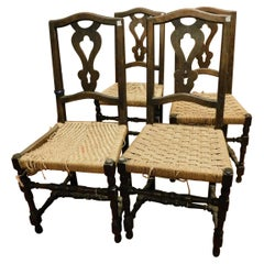 Antique Set of 6 Brown Walnut Chairs, with Woven Straw Seat, 1700, Italy