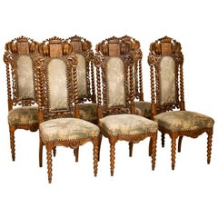 Antique Set of 6 Carved Dining Chairs with Eagles, Crown and Shield