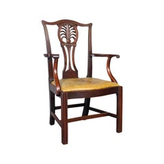Antique, Set of 6, Dining Chairs, English, Mahogany, Leather, Seats, Victorian