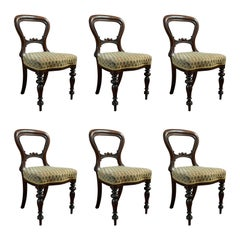 Antique Set of 6 Dining Chairs English Walnut Balloon Back Victorian, circa 1850