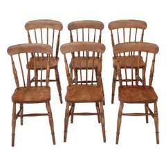 Antique Set of 6 Elm and Beech Kitchen Dining Chairs