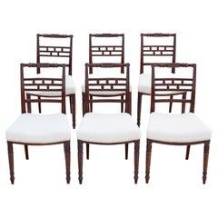 Antique Set of 6 Georgian C1820 Mahogany Dining Chairs