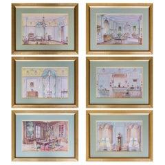 Antique Set of 6 Interior Design Prints