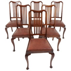 Antique Set of 6 Mahogany Queen Anne Style Dining Chairs, Scotland, 1920, B2253