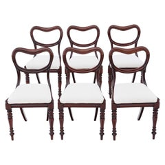 Antique Set of 6 William IV Mahogany Balloon Back Dining Chairs, circa 1835