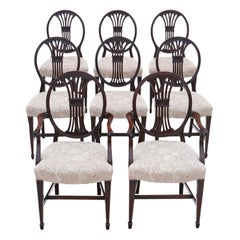 Antique Set of 8 '6+2' Carved Mahogany Dining Chairs, Late 19th Century