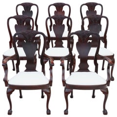 Antique Set of 8 '6+2' Carved Mahogany Dining Chairs Queen Anne Revival