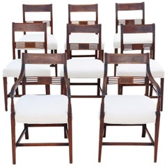 Antique Set of 8 '6+2' Georgian circa 1820 Inlaid Mahogany Dining Chairs