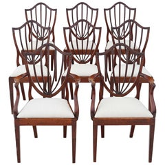 Antique Set of 8 '6+2' Georgian Mahogany Shield Back Dining Chairs