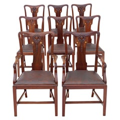 Antique Set of 8 '6+2' Inlaid Mahogany Dining Chairs Art Nouveau