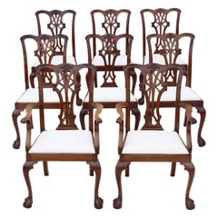 Antique Set of 8 '6+2' Mahogany Dining Chairs Georgian Revival, circa 1910